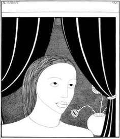 'Girl at Window', Hannah Frank (1945) Pen and ink 36 cm x 31 cm Hannah Frank Collection. Prints available for sale.