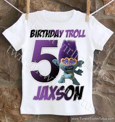 Trolls World Tour Boys Birthday Shirt Birthday Boy Shirts, Birthday Party Outfits, 2nd Birthday Parties, It's Your Birthday, Boy Birthday, Third Birthday, Birthday Ideas, Trolls Birthday Favors, Simple First Birthday