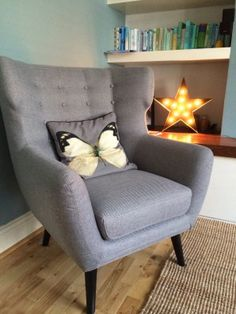 Inspired by the 1960s take on a classic eighteenth century design, the Kubrick Wing Back Chair in pearl grey makes a striking retro statement.
