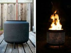 Old dryer drum as fire pit