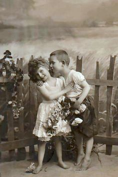 Vintage Love...I love how the little boy is standing on his tiptoes. Adorable!