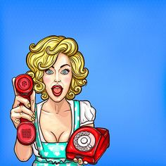 Pop art blonde girl with a retro phone surprised by a good phone Vector and PNG Comic Poster, Comic Art, Art And Illustration, Desenho Pop Art, Farmasi Cosmetics, Pop Art Women, Vector Pop, Retro Phone, Retro Background