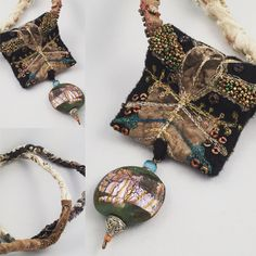 GB...2016 machine and hand stitching, glass bead made by Laurie Weight