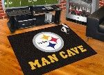 I totally just figured out what I'm getting my dad for Father's Day next year!  He is determined to transform the basement into a man cave, and he absolutely loves football.  So, I figure that I should get him a big floor mat with his favorite team to put in there.