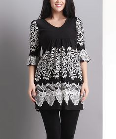 Love this Black Lace Print Bell-Sleeve Empire-Waist Tunic - Plus on #zulily! #zulilyfinds