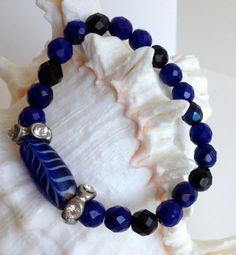 Colbalt Blue & Black Glass Bracelet with Vintage Spacers
