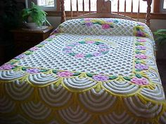 Beautiful 50's plush thick Chenille Bedspread in by designer2,