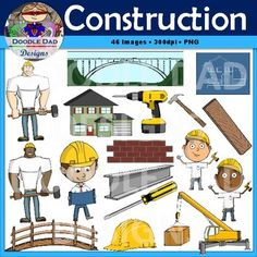 A collection of construction clip art. Perfect for any project needing construction workers, hard hat, screwdriver, power drill and more! 46 images total in BW, GS and color (17 unique images).All pieces are PNG files saved at 300 dpi to ensure great quality.This set includes all versions of:BlueprintBricksConstruction ForemanConstruction Worker 1Construction Worker 2CraneElectric DrillHammerHard HatHouseI BeamScrewdriverSteel BridgeStrong Construction Worker 1Strong Construction Worker…