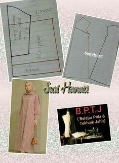 Dress Sewing Patterns, Sewing Patterns Free, Clothing Patterns, Abaya Pattern, Pattern Draping, Kebaya Dress, Blouse Dress, Fashion Sewing, Diy Fashion