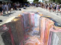 Amazing 3D Chalk Street Art..... No matter how much I look at this, it always looks 3D!