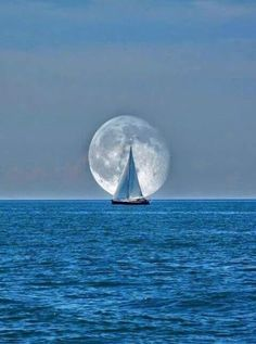 Sailing close to the wind in the moonlight. Sailing close to the wind in the moonlight. Moon Moon, Full Moon, Moon Sea, Beautiful Moon, Beautiful World, Beautiful Scenery, Beautiful Artwork, Beautiful Things, Cool Photos