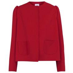 DELPOZO $1,950 structured shoulder FW14 runway blazer coat red jacket 44/12 NEW #Delpozo #BasicJacket