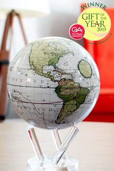 The new Cassini Terrestrial MOVA Globe is Giftware Association's 2015 Luxury Gift of the Year. The inventive home decor globe features an authentic map from 1790, exquisite colors, and a rotation powered by light.   Learn more: http://movainternational.com/product/cassini-terrestrial-mova-globe-2/