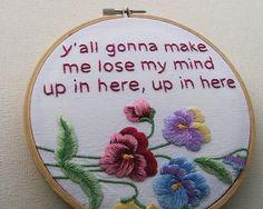 Ha!  Love it! Rap lyrics + embroidery = Awesomeness. Love this!
