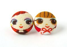 Small stud earrings  girl cute red orange brown by KooKooCraft, €9.00 $12