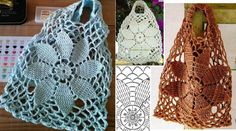 Pattern for knitting a crochet bag, in brown or white thread, to go shopping. Look what a beautiful crochet bag! On a draft basis, an eight-petal flower. The preparation of this bag starts at … Read more. Crochet Motifs, Bead Crochet, Crochet Stitches, Crochet Patterns, Crochet Simple, Crochet Round, Crotchet Bags, Knitted Bags, Crochet Market Bag