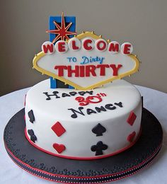 """Las Vegas Cake --I am thinking it could be cute to have one say """"welcome to fabulous Retirement"""" or something along those lines? @Kelly Teske Goldsworthy Crafts"""