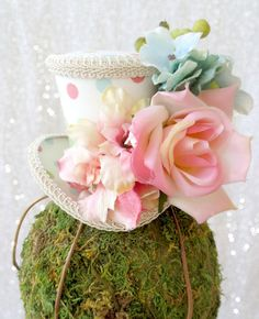 Baby Pink Polka Dot Mini Top Hat, Flower girl, Tea Party Mini Top Hat, Mad Hatter Hat, Alice in Wonderland, Flower Girl Hat