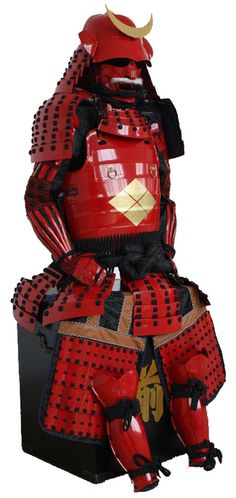 Striking red-laquered armour bearing the mon (crest) of the Takeda family.