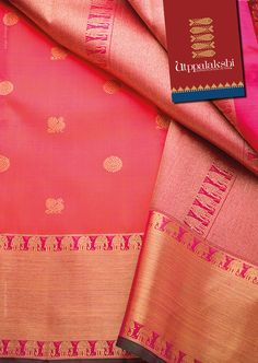 Here is our Peachy pink Kancheevaram saree. With annam & chakkram all over…
