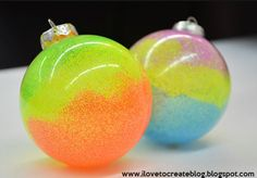 Neon Glitter Ornaments 39 Ways To Decorate A Glass Ornament Vinyl Ornaments, Clear Ornaments, Glitter Ornaments, Painted Ornaments, Christmas Ornaments To Make, Christmas Crafts For Kids, Christmas Balls, Christmas Projects, Holiday Crafts