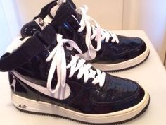 Nike Air Force 1 SHEED High RASHEED PATENT BLACK WHITE 302640 011 Sz 6