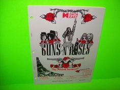 GUNS N ROSES By Data East Original NOS 1994 Pinball Machine Manual w/ SCHEMATICS #GunsNRoses #PinballManual #DataEastPinball