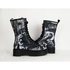 Goth boots, platform shoes, skull shoes, ghost, haunted, oddities,... ($91) ❤ liked on Polyvore featuring shoes, boots, goth shoes, goth boots, gothic boots, gothic platform shoes and platform boots