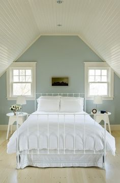 Stylish Bedroom Paint Ideas Applied for Guys Private Space: Cool Contemporary Bedroom Design Interior With Soft Blue Bedroom Paint Ideas And. Benjamin Moore Quiet Moments, Attic Bedrooms, Guest Bedrooms, Girls Bedroom, Blue Bedrooms, Upstairs Bedroom, Attic Bathroom, Small Bedrooms, Master Bedrooms