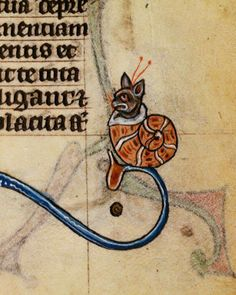 Marginal cat-snail: (BL Stowe 17, The Maastricht Hours, 1st quarter of the 14th century, possibly made for an aristocratic lady)