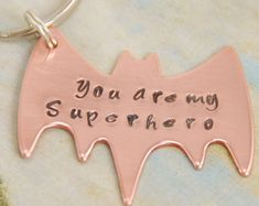 batman hand stamped superhero copper keychain - christmas gift for dads - fathers day gift - boyfriend gift