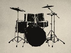 Musical Drum Set Silhouette Iron On Tote Bag Pillow Sheet Burlap Transfer Band Sounds Graphic Digital Downloads No. 54