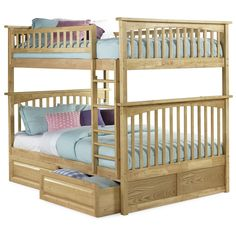 Give your children a comfortable and spacious place to sleep with this beautiful Columbia full-over-full bunk bed. Two lower storage drawers are included for keeping spare blankets close, as well as t