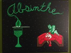 """Absinthe""  acrylic on canvas H 16"" W 20"" for purchase contact JoeyCalveri@gmail.com"