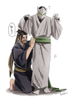 Cute brothers helping each other out Overwatch Hanzo, Overwatch Memes, Overwatch Fan Art, Overwatch Drawings, Overwatch Comic, Genji Shimada, Hanzo Shimada, Shimada Brothers, Genji And Hanzo