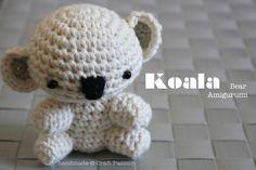 Crochet: Koala Bear Amigurumi {Tutorial & Pattern} by Craft Passion made with pattern by Roxycraft.com from the book Tiny Yarn Animals!