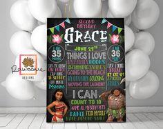 Moana Birthday Party - Milestones Chalkboard! Great for any Age! CUSTOM DESIGNED! by RawsomeDesigns on Etsy