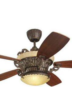 Monte Carlo Fans Strasburg 56 5-Blade Ceiling Fan with Remote/Uplight Tuscan Bronze 5SBR56TBDL