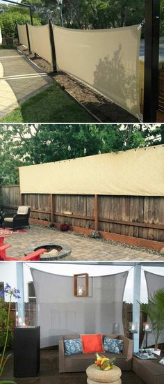 Privacy screen made from outdoor fabric. #privacyscreen #outdoorfabric