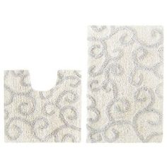#10: 2 Piece Bath Rug Set - New Scroll Ivory Slate Blue by Cotton Craft - 100% Pure Cotton - High Quality - Super Soft and Plush - Hand Tufted Heavy Weight Durable Construction - Larger Rug is 21x32 Oblong and Second rug is Contour 21x20 - Other Styles -.