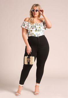 Plus Size Clothing | Plus Size Layered Floral Cold Shoulder Blouse | Debshops