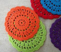 Crocheted coasters rainbow colors doily