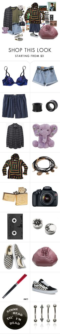 """""""messy hair got me weak"""" by iamodd ❤ liked on Polyvore featuring Victoria's Secret PINK, Old Navy, Hot Topic, 6397, Forever 21, Zippo, Eos, Luckies, Vans and xO Design"""