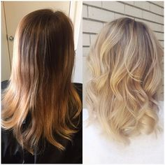 """Before and after today! Long Brunette sombre to low maintenance blonde lob """"long…"""