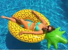 Pineapple Pool Float: Imagine yourself floating in your pool, sipping a tropical drink while a ukulele serenades you—palm trees swaying in the breeze. Then reality strikes, and your