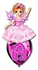 Alfabeto hada sobre globo rosa. | Oh my Alfabetos!