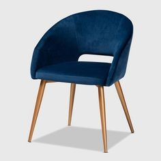 Baxton Studio Vianne Glam and Luxe Navy Blue Velvet Fabric Upholstered Gold Finished Metal Dining Chair - Wholesale Interiors Blue Velvet/Gold-DCA retro design gets a luxurious update in the Vianne dining chair. Upholstered in a soft, sumptuou Navy Blue Dining Chairs, Windsor Dining Chairs, High Back Dining Chairs, Fabric Dining Chairs, Upholstered Dining Chairs, Side Chairs, Navy Blue Accent Chair, Blue Velvet Fabric, Living Comedor