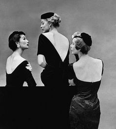 Robes noires dos nu : 1950's cocktail frocks by Ceil Chapman, Givenchy and Larry Aldrich photo Sharland 1953