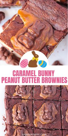 Peanut Butter Stuffed Chocolate Brownies with a chocolate caramel bunny melted on top, what's not to love? These Caramel Bunny Peanut Butter Brownies are the perfect addition to any Easter dessert spread! via @bigbearswife Cute Easter Desserts, Easter Treats, Easter Recipes, Dessert Recipes, Peanut Butter Brownies, Chocolate Brownies, Vegetarian Chocolate, Easter Decor, Melting Chocolate