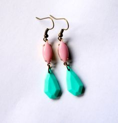 Turquoise Faceted Teardrop Earrings Adorned with Pink Glass Navettes